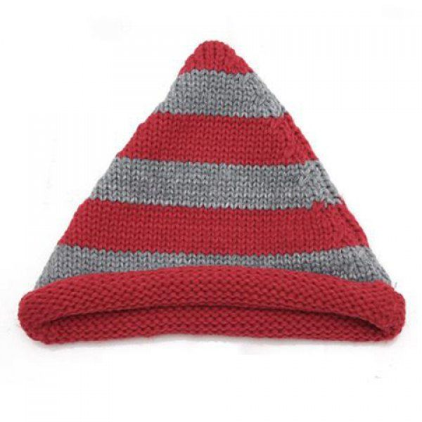 Cute Colored Striped Knitting Yarn Peaked Cap For Women, RED in Hats | DressLily.com