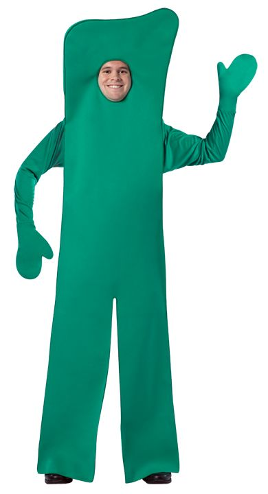 #4102 Gumby Open Face - Tall, flexible and green! You are guaranteed to make everyone's day in this classic Gumby costume. This Gumby features an opening for your face making it party friendly! Polyester. One size. #gumby #halloween #event