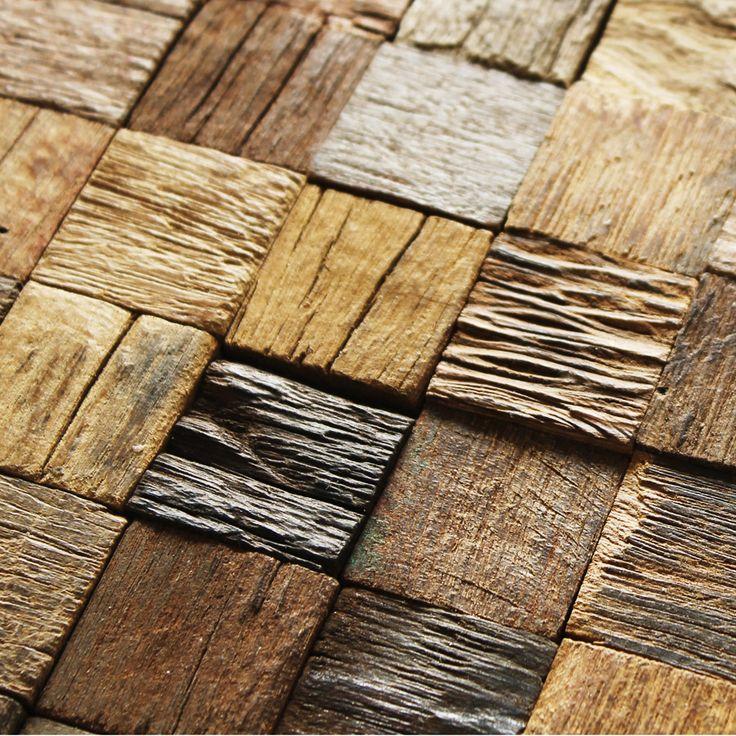 Efflorescent wood paneling 3d tiles interior wall deco mesh coverings kitchen bathroom backsplash tile mosaics hotel bar tiles