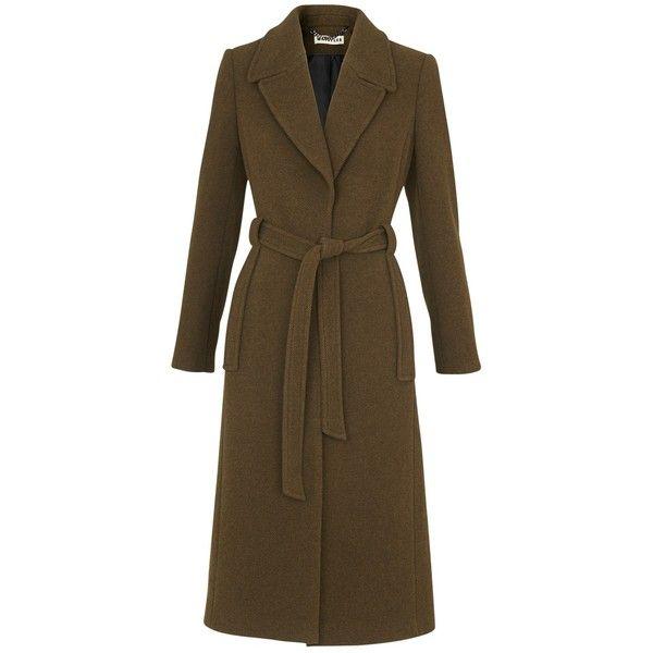 Whistles Evangeline Belted Coat, Khaki ($360) ❤ liked on Polyvore featuring outerwear, coats, whistles coat, coat with belt, long sleeve coat, khaki coat and brown coat