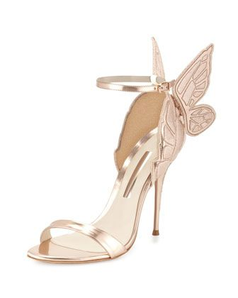 Chiara Butterfly Wing Ankle-Wrap Sandal, Gold by Sophia Webster at Neiman Marcus.