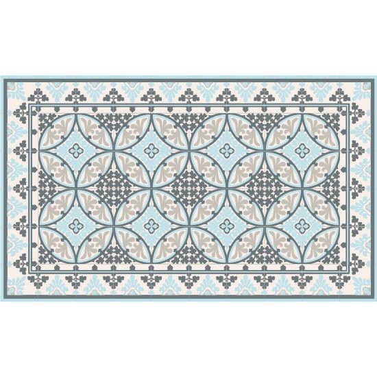 tapis vinyl barcelone light blue white 60 x 97 cm on. Black Bedroom Furniture Sets. Home Design Ideas