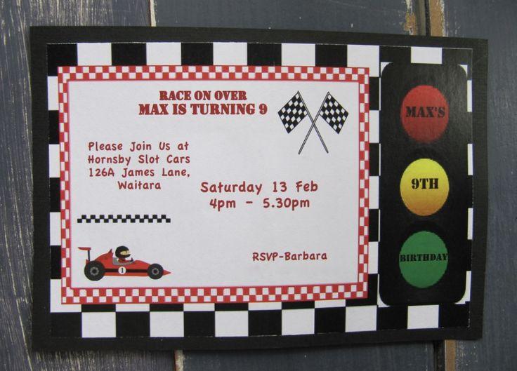 Handmade Boys Race Car Party Invitation