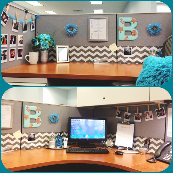 Diy desk glam give your cubicle office or work space a for Office space decorating pictures