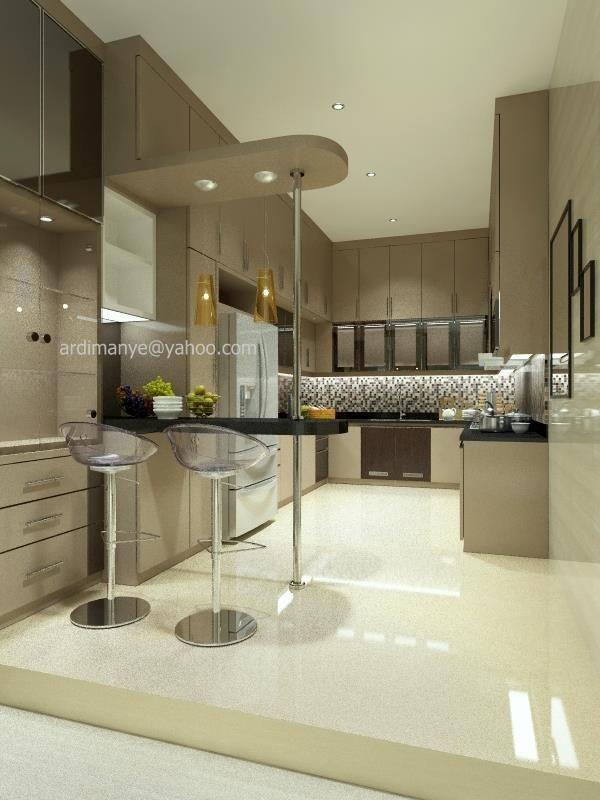 interior dapur bentuk U desain minimalis desain interior Makassar