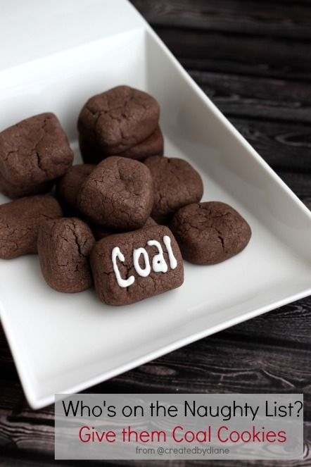Naughty Coal Cookies from @createdbydiane: Christmas Holiday Cookies, Coal Cookies, Baked Christmas Gifts, Christmas Cookies Gift Ideas, Christmas Baked Gifts, Holiday Cookie Recipes, Naughty Coal, Christmas Baking Ideas Gift