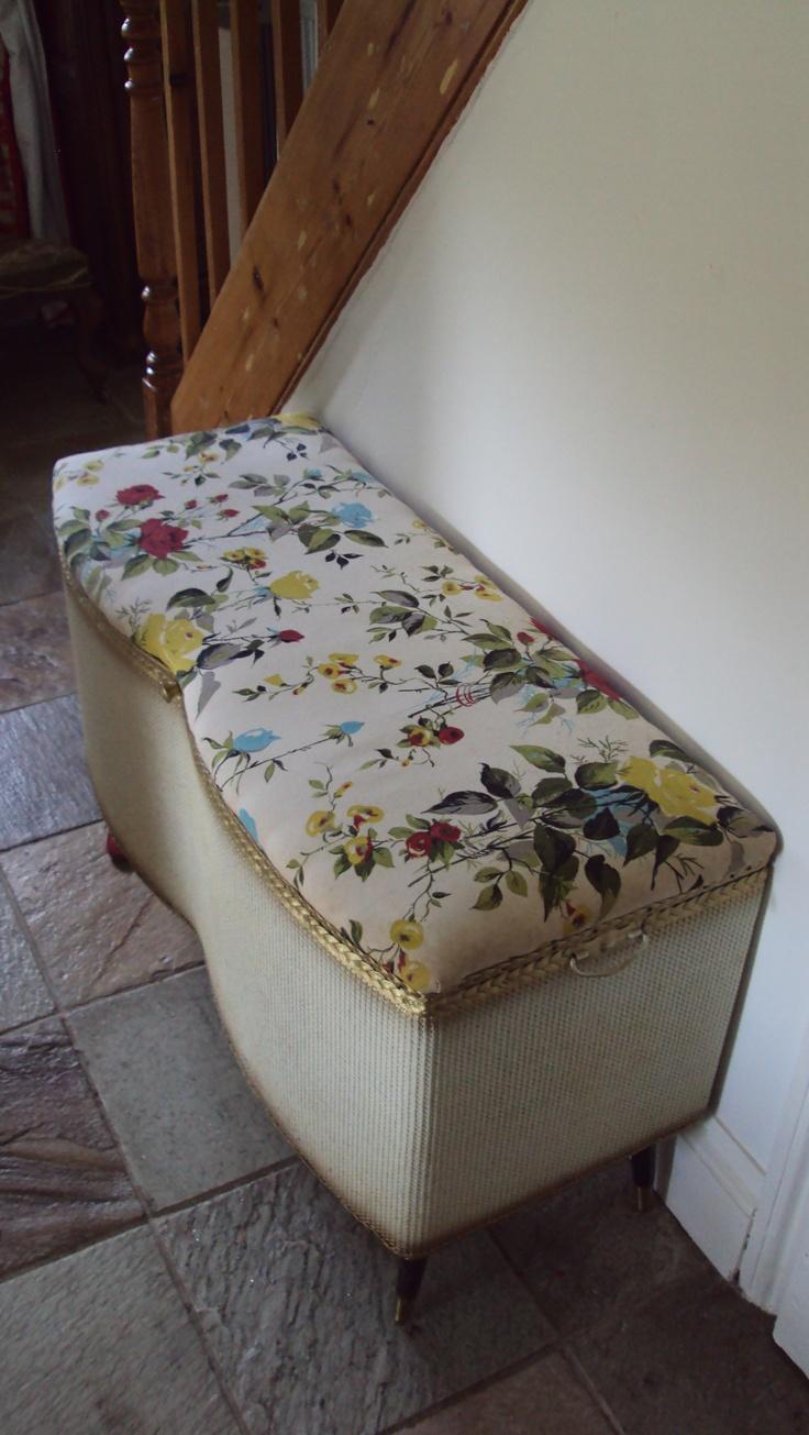 Fifties floral rose lloyd loom ottoman -cum toy box!