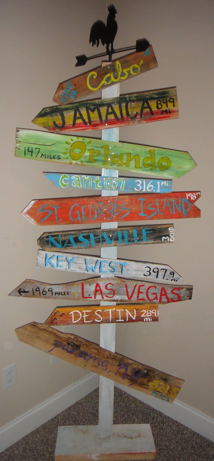 Customized Key West Style Distressed Wooden Mile Marker Directional Sign for Decor or Special Occassion/Wedding