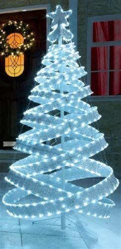 4FT OUTDOOR WHITE SILVER PRE LIT POP UP SPIRAL CHRISTMAS TREE LED
