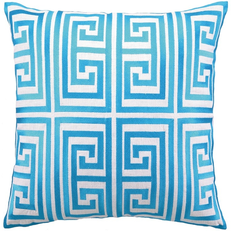 Greek Key Decorative Pillows Part - 27: Greek Key Embroidered Pillow In Turquoise Design By Trina Turk Greek Room