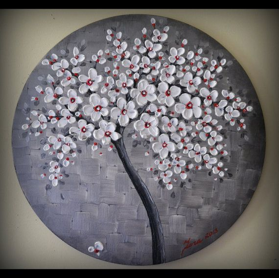 Original Fine Art Modern White Red Black Tree by ZarasShop on Etsy