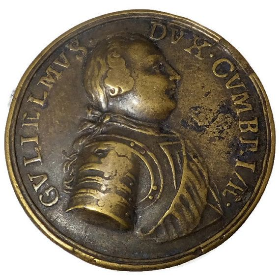 1746 British Medal, William Duke of Cumberland, Bronze gilt medal, Battle of Culodeen Commemorative British Medal, Jacobite Rebellion