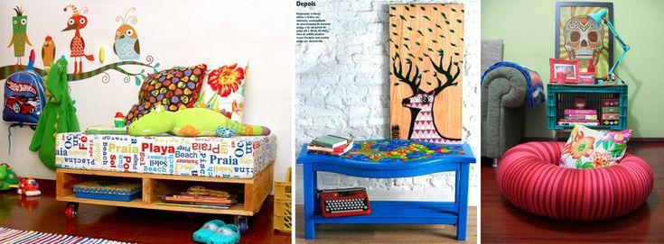 À esquerda, cantinho de leitura infantil feito com pallets. No centro, mesa reformada. E à direita, uma câmera de pneu transformada em puff.