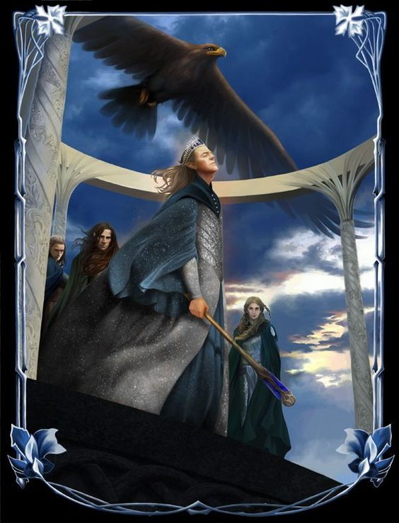 Manwë was the King of the Valar, husband of Varda Elentári, was conceived in the thought of Iluvatar as a brother of Melkor, and King of Arda. He lived atop Mount Taniquetil, the highest mountain of the world, in the halls of Ilmarin, in the realm of Valinor. The winds, airs and birds were his servants, and he was lord of air, wind, and clouds in Arda. He was the noblest and greatest in authority of the Valar, and only less powerful than Melkor.