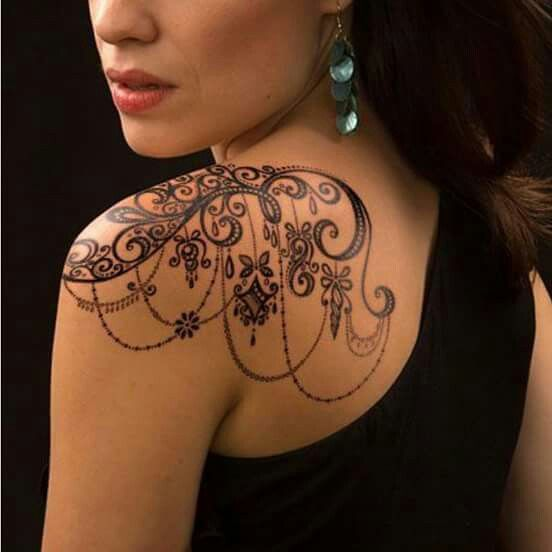Lace swirl chain feminine women's tattoo