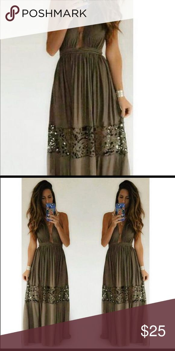 Olive Green L'atitse Maxi New with L'atiste tag. Bought from Apricot Lane boutique in IL, never worn. Picture from Apricot Lane fb to show dress on body. Dress is backless with a halter. L'ATISTE Dresses Maxi