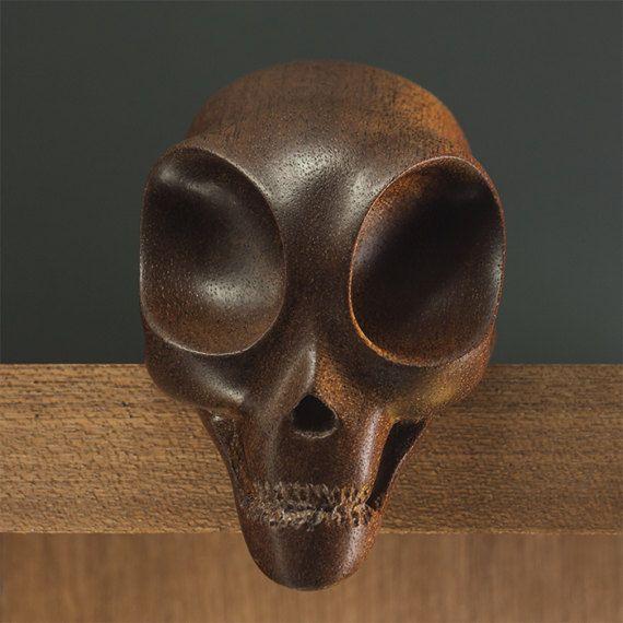 Wooden Alien Skull