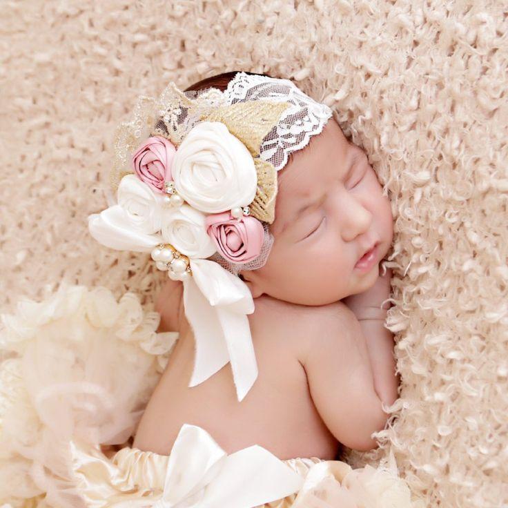 Gold Hairbows Baptism Headband Flower Girl Headband Fall Headband Ivory and Gold Baby Headband Thanksgiving Headband Newborn Headband