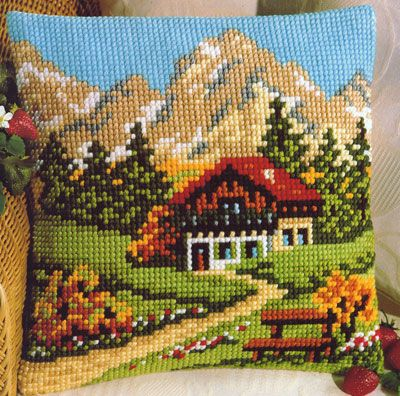 Mountain Chalet Cross Stitch Cushion Kit By Vervaco