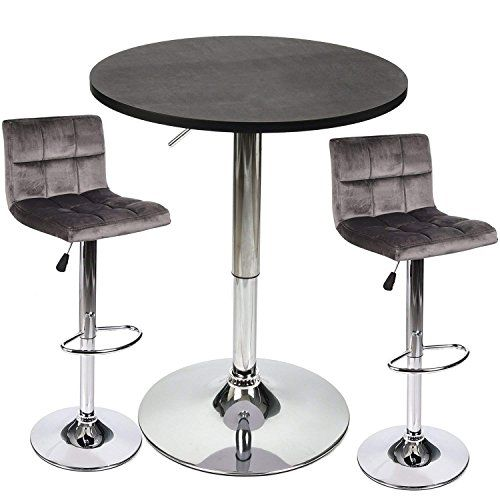 3 Piece Bar Table Stools Set Height Adjustable Table With Swivel Bar Chairs S Adjustable Height Table Dining Table In Kitchen Dining Furniture Sets