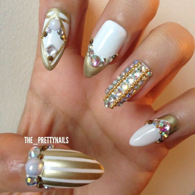 """Instagram media -_prettynails -  Gold on White combination using @modelsownofficial """"Snow White"""""""