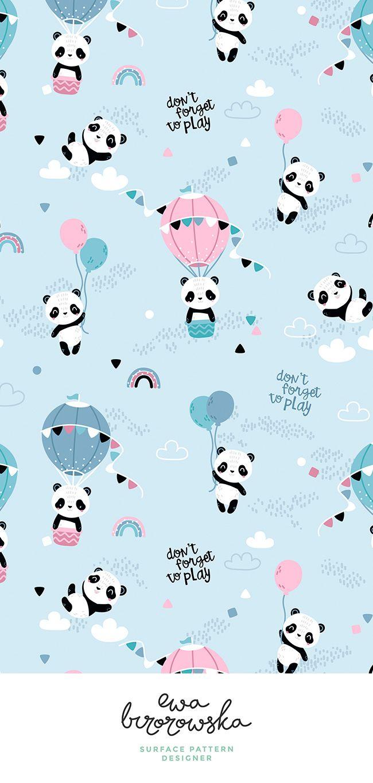 Pin Em Ewa Brzozowska Surface Pattern Design Cute pink panda wallpaper for cellphone