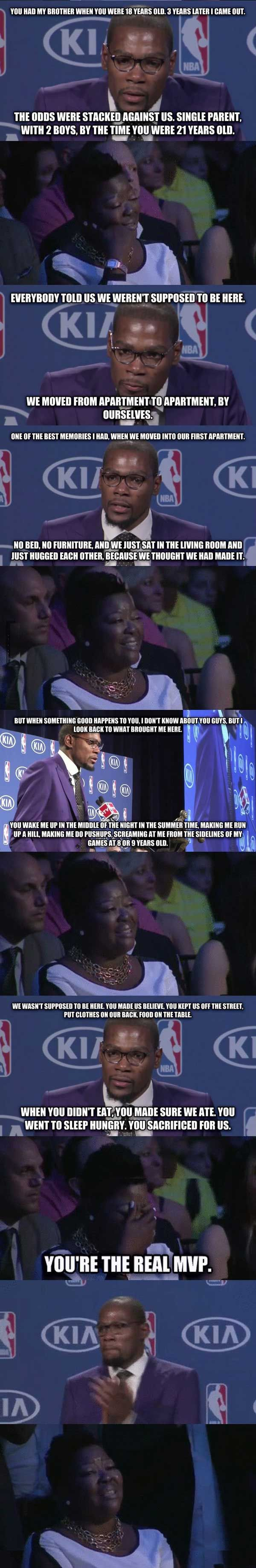 Kevin Durant talks about his mom during MVP speech! (12 Pics)
