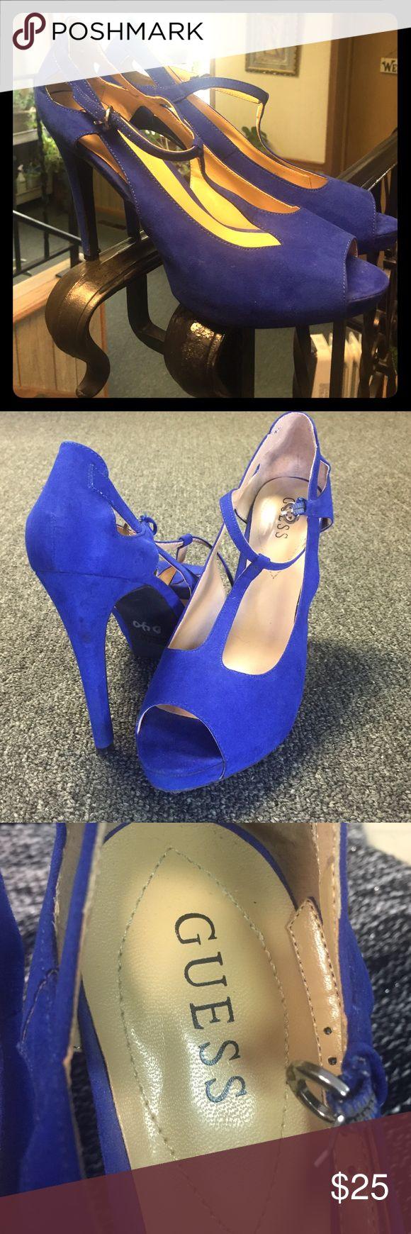 Guess Royal Blue Suede peep toe pumps. Guess Royal Blue Suede peep toe pumps. Size 10M. Worn once. Guess Shoes Heels