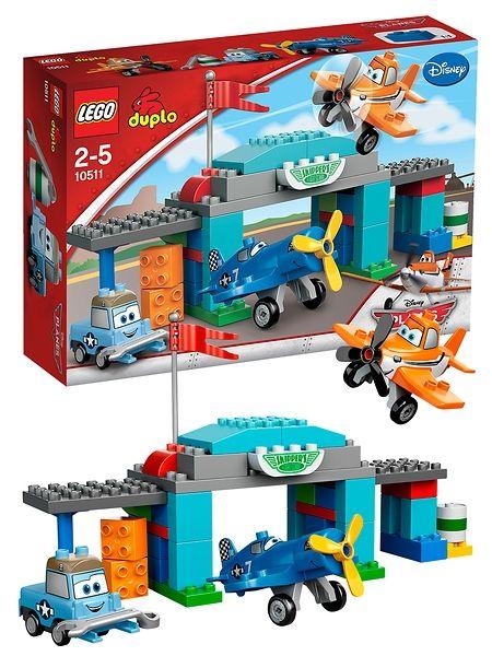 Lego Duplo, Lentsikat (Kipparin lentokoulu). Opeta Dusty lentämään Kipparin lentokoulussa ja viimeistele sen moottori kuvioiduilla palikoilla! Tuotenro 10511.