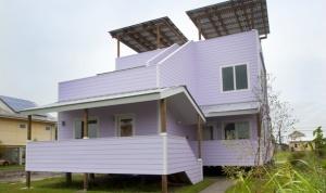 """Lo stile architettonico di Frank Gehry, con tutte le sue frammentazioni e bagliori, sembra essere fuori luogo in una via residenziale. Tuttavia essendo uno dei 21 architetti scelti da Brad Pitt per la sua """"Make it right Foundation"""", una società non-profit dedicata agli alluvionati di New"""