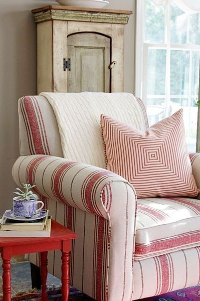 Classic, red stripe club chair and red accent table