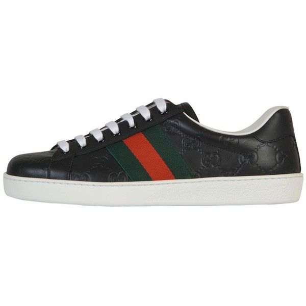 Gucci Signature Leather Sneaker ($390) ❤ liked on Polyvore featuring men's fashion, men's shoes, men's sneakers, black, gucci mens sneakers, mens black leather shoes, mens leather sneakers, mens black leather sneakers and mens black sneakers