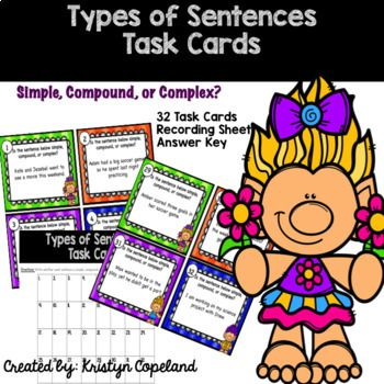 Types of Sentences: Simple, Compound, Complex Task CardsIncludes:32 Task Cards Recording SheetAnswer Key
