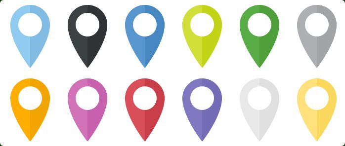 Flat Map Markers Icons Set - One icon in different variations