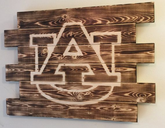 Charred wood sign Auburn. Measures 28x21