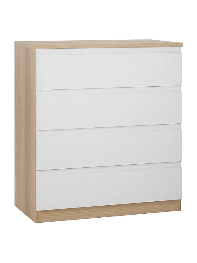 House By John Lewis Mix It Wide 4 Drawer Chest Gloss White Natural Oak House By John Lewis Stylish Storage Solutions Furniture Styles