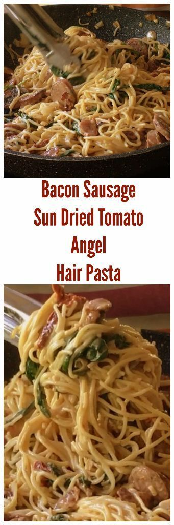 Bacon Sausage Sun Dried Tomato Angel Hair Pasta is an easy creamy skillet recipe that can be prepared in about fifteen minutes.  It is loaded with bacon, chicken sausage, sun-dried tomatoes and baby spinach.