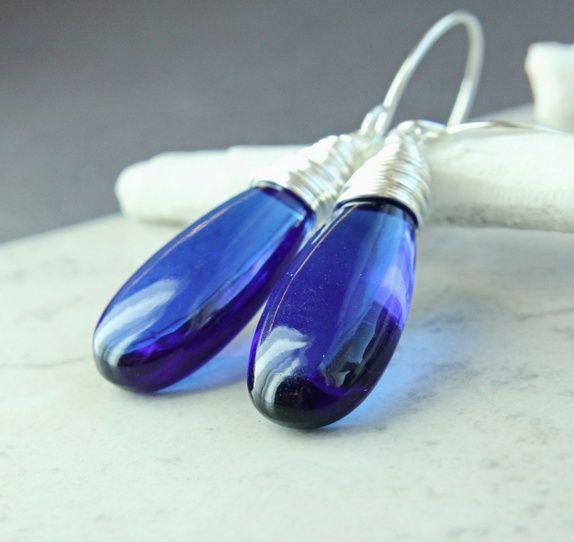 Blå øredobber - kvarts-krystall - sølv