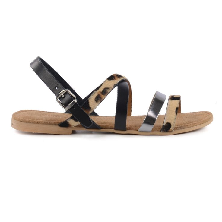Luipaard sandalen zwart