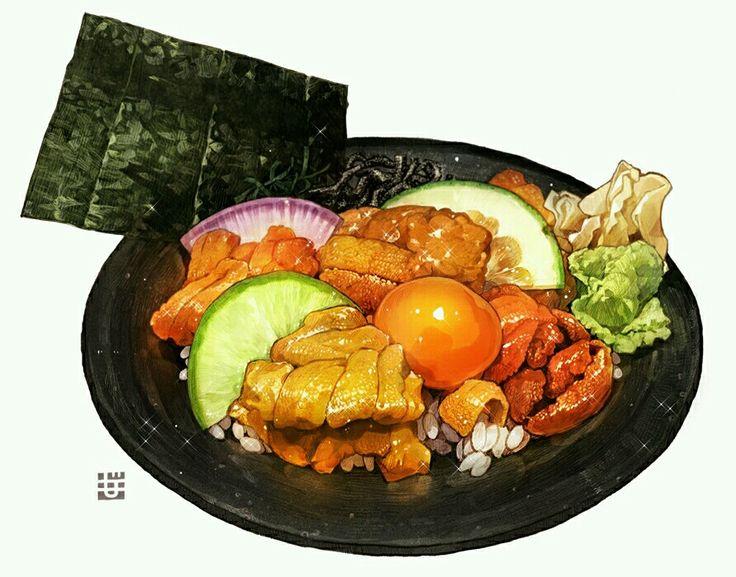 畫師もみじ真魚「うにの食べ比べ丼」via Pixiv