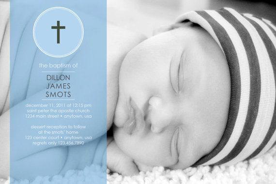 Baptism/Christening Boy - Photo Invitation DIGITAL FILE