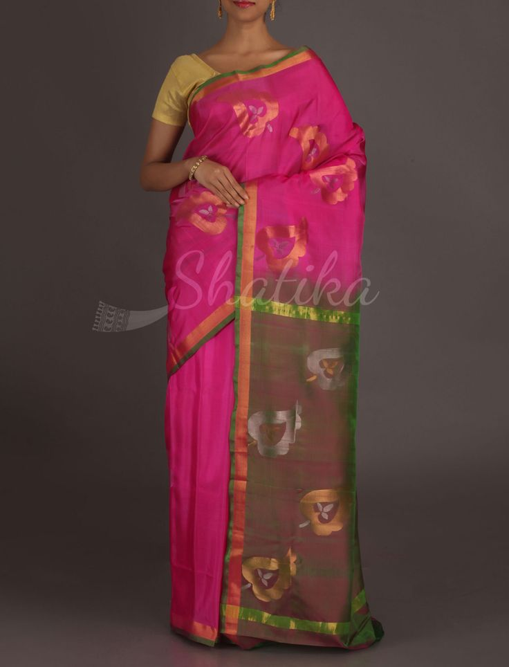 Jaishree Designer Gold And Silver Leaf #RealZari #UppadaSilkSaree