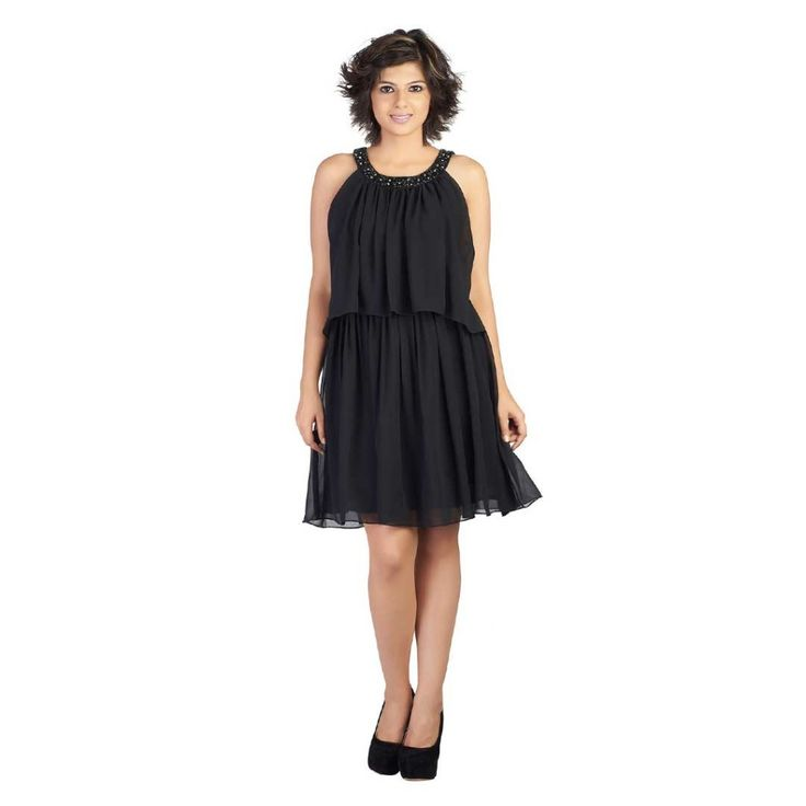 #Soie  #Sleveless #Black #Georgette #Dress  #trendalert