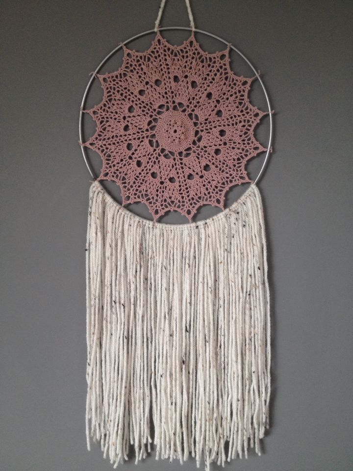 Beautiful handmade crochet dreamcatcher for sale! Visit my etsy shop for more details:   https://www.etsy.com/uk/shop/HandCraftedDreamsGB?ref=ss_profile