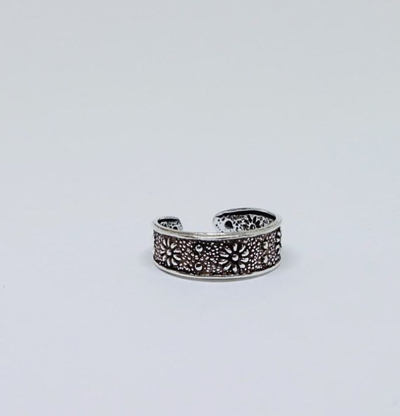 Floral Sterling  Silver Toe Ring Boho Ring Adjustable Ring