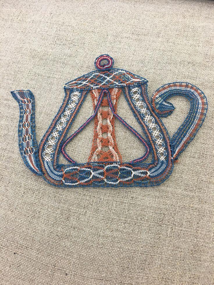 Milanese bobbin lace teapot; design by Louise Colgan