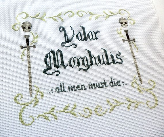 Game of Thrones PDF Pattern - Modern Cross Stitch - Swords and skulls - Instant Download - Valar Morghulis Quote
