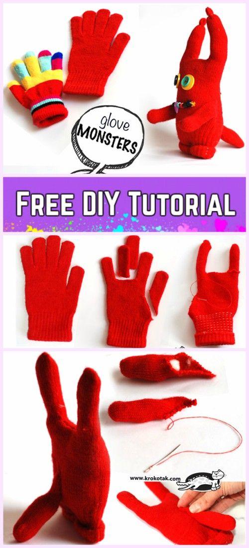 diy glove monster tutorials sew for kids fun crafts pinterest