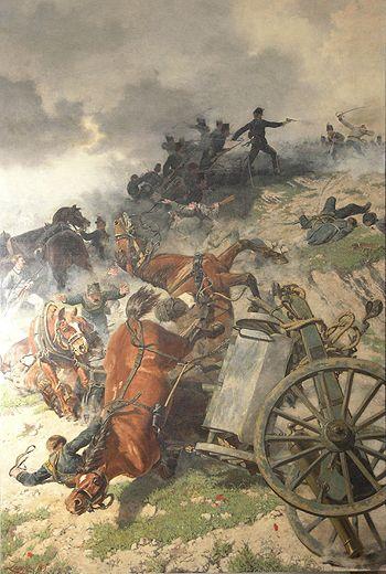 Roberto Perrone di San Martino difende i suoi cannoni al Belvedere, a nord di Custoza. (1866, Battaglia di Custoza, Terza guerra d'indipendenza italiana)