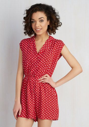 Read It and Steep Romper in Red Polka Dot - Red, Polka Dots, Buttons, Pockets, Casual, Rockabilly, Pinup, 60s, 70s, Spring, Summer, Short, Woven, Good, Collared, Red, Vintage Inspired, Exclusives, Variation, Short Sleeves, Cotton, Romper, Beach/Resort